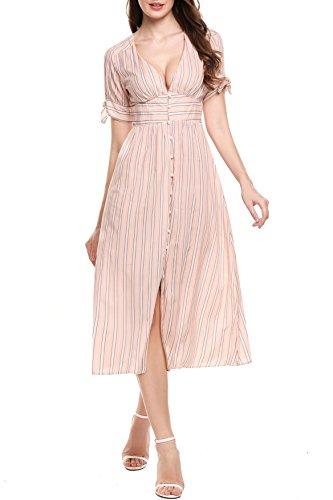Zeagoo Women's Short Sleeve Button Up Split Striped Midi Dress Long Dresses,Pink,Medium