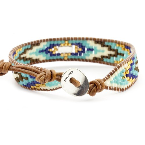Chan Luu Blue Seed Bead Mix on Brown Leather with Sterling Silver Clasp
