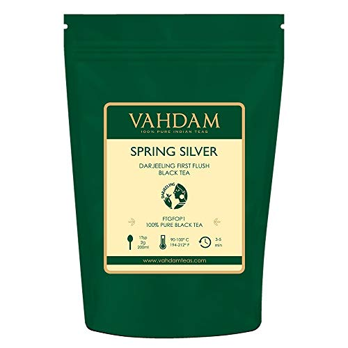 VAHDAM, 2019 Spring Silver First Flush Darjeeling Tea (50 Cups) - Flowery, Aromatic & Delicious - Picked, Packed & Shipped Direct from India, Darjeeling Tea First Flush, 3.53oz