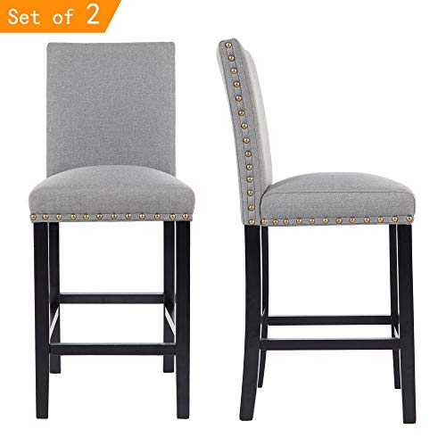 - GOTMINSI Nailhead 24 Inches Counter Height Stools Upholstered Bar Stools with Solid Wood Legs, Set of 2 (Grey)