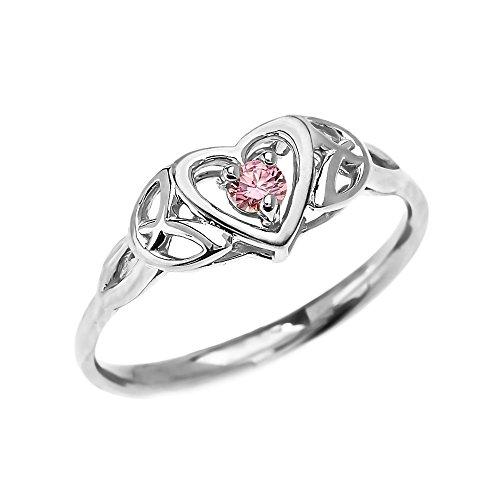 Bague Femme/ Bague De Fiançailles Trinité Nœud Cœur Solitaire Rose Oxyde De Zirconium Centre Pierre 14 Ct Or Blanc