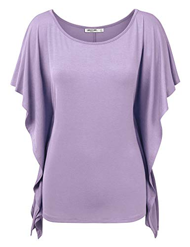 - LL WT1340 Womens Solid Scoop Neck Short Sleeve Poncho Tunic Top XXXL Lilac