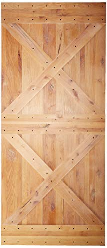 (36x84 inches DIY Natural Sturdy Knotty Alder Wood Shiny Primer Sliding Barn Door Slab,Ultimate)