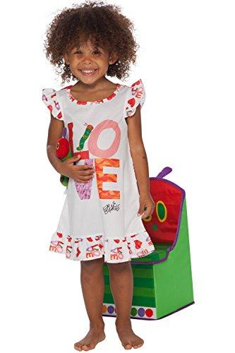 Eric Carle Girls Toddler Hungry Caterpillar Love Book Ruffle Nightgown Sleepshirt Pajama