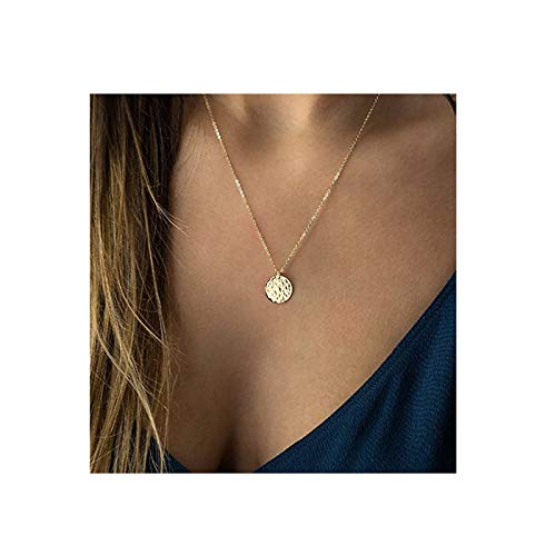 Fettero Necklace for Women Dainty Handmade 14K Gold Fill Carved Full Round Moon Phase Pendant Wafer Chain Minimalist ()