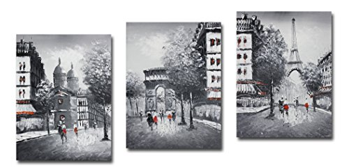 Muzagroo Art Stretched Eiffel Tower Oil Painting on Canvas 3 Panels (Black White) (Painting Oil Tower)