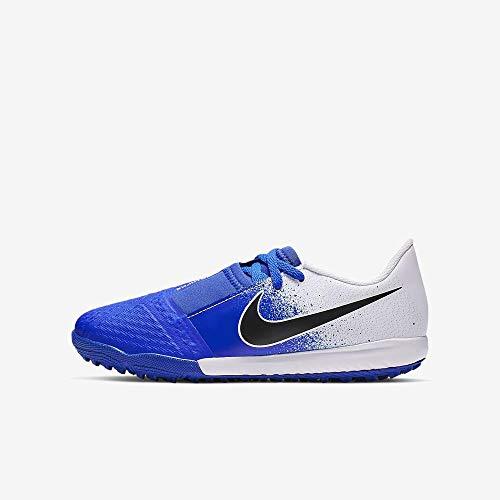 Nike Junior Phantom Venom Academy Turf Soccer Shoes (White/Black-Racer Blue) (2.5 M Little Kid)