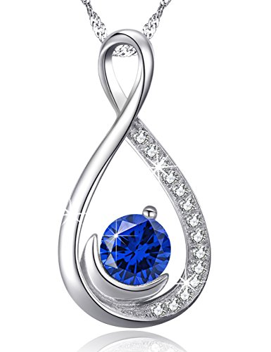 y Moon Jewelry Gifts Her Women Blue Sapphire September Birthstone Necklace Anniversary Birthday Gifts Wife Lady Daughter Sterling Silver Swarovski 18