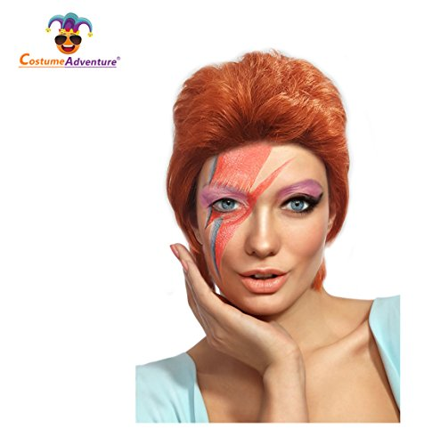 Costume Adventure British Popstar Bowie Style Wig for Adults Red