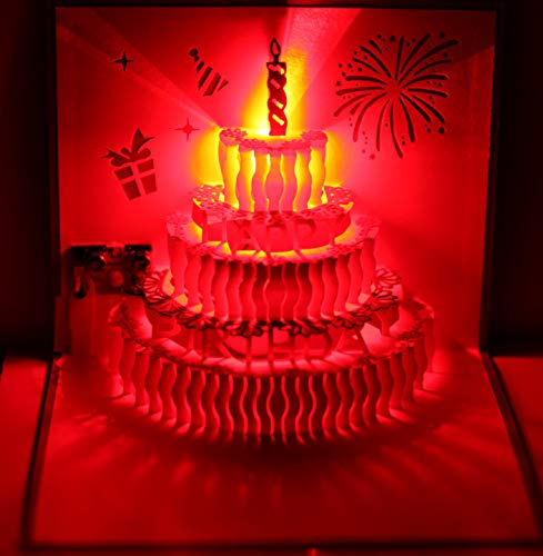 3D Pop Up Greeting Cards LED Light Happy Birthday Music Card Postcards (Birthday -