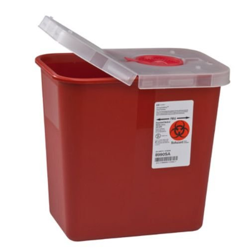 Covidien 8990SA Multi-Purpose Containers with Hinged Opening Lid, 2 gal Capacity, 10'' Height x 7.25'' Depth x 10.5'' Width, Red (Pack of 20)
