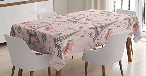 Ambesonne Paris Tablecloth, Romantic Elements from The Capital City of The France Croissant Muffin Macaroon Paris, Dining Room Kitchen Rectangular Table Cover, 60 W X 84 L Inches, Multicolor