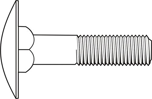 1/4''-20 x 2 1/2'' (FT) Coarse Thread A307 Grade A Step Bolt Low Carbon Steel Zinc Plated Pk 100