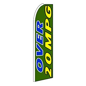 """NEOPlex - """"Over 20 Mpg"""" Swooper Feather Business Flag"""