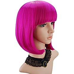 "eNilecor Short Bob Hair Wigs 12"" Straight with Flat Bangs Synthetic Colorful Cosplay Daily Party Wig for Women Natural As Real Hair+ Free Wig Cap (Hot Pink)"
