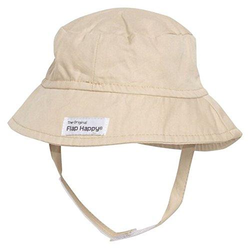 (Flap Happy Unisex Baby UPF 50+ Crusher Hat with Chin Strap, Khaki,)