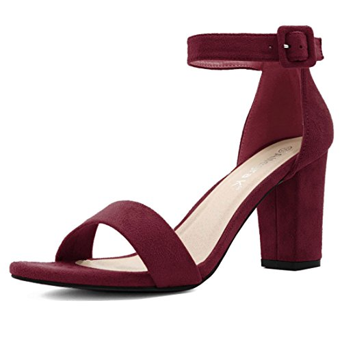 Shoes Womens Burgundy (Allegra K Women's Chunky High Heel Ankle Strap Sandals (Size US 8.5) Burgundy)