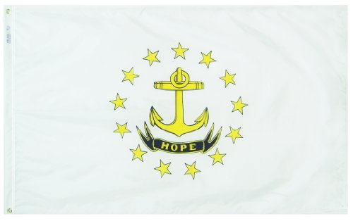 Annin Flagmakers Model 144760 Rhode Island State Flag 3x5 ft. Nylon SolarGuard Nyl-Glo 100% Made in USA to Official State Design Specifications.