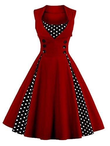 Caissen Women's 50s Vintage Retro Rockabilly Audrey Dress Cocktail Dress Polka Dots Floral Print Swing Party Gown Burgundy-1 Size -