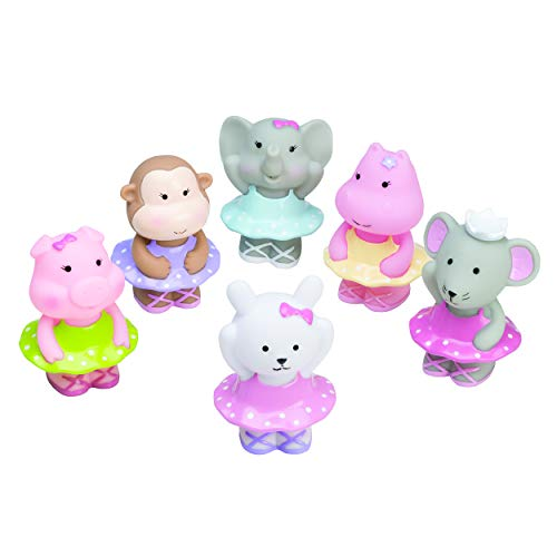Best Elegant Baby 6 Piece Bath Time Fun Rubber Water Squirties, Ballerina Monkey, Elephant, Animal Squirt Toys -