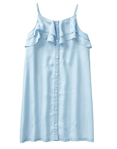 Crazy 8 Girls' Little' Sleeveless Casual Woven Dress, Denim Ruffle Button Down Down, 6.0]()