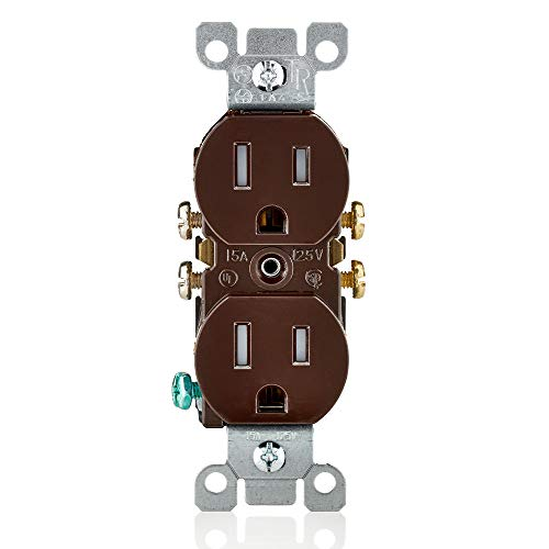 - Leviton T5320 15 Amp, 125V, Tamper Resistant, Duplex Receptacle, Residential Grade, Grounding, 10-Pack, Brown