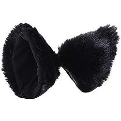 Voberry@ Cat Fox Fur Ears Hair Clip Headwear Anime Cosplay Halloween Faux Fur Costume (C)