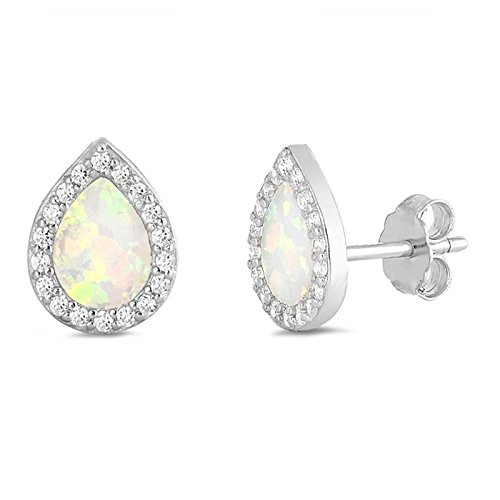 (Lab Created Opal Teardrop Halo CZ Studs Earring 925 Sterling Silver Womens)