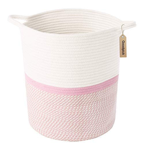 (INDRESSME Cotton Rope Basket Pink for Baby Nursery Room | Cute Kids Laundry Hamper | Blanket Basket, Toy Chest Soft, Bottom | Woven)