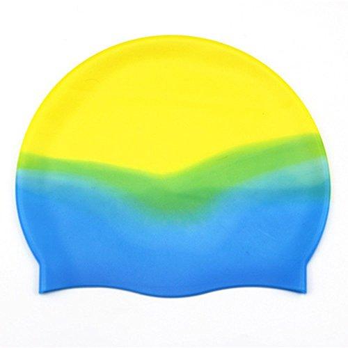 Natación Exterior Silicona Adult Natación Cap Color Partículas Internas Cómoda Natación Gorra Al por Mayor Protección del Oído Pelo Anti-Estática: ...