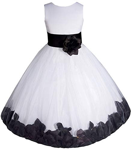 AMJ Dresses Inc Big-Girls' White/Black Flower Girl Dress E1008 Sz 8 -