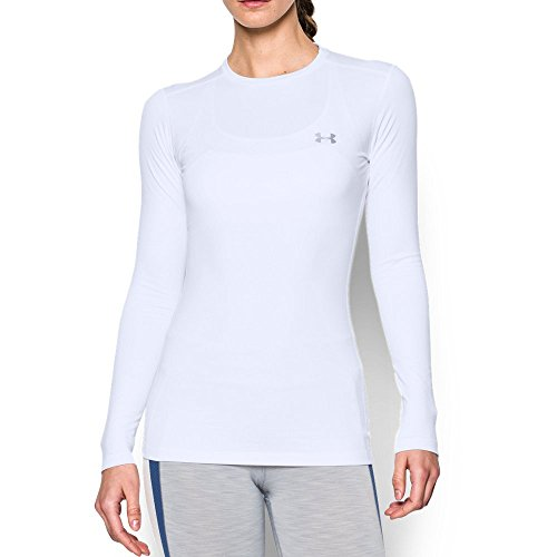 Under Armour Women's ColdGear Authentic Crew, White (100)/Silver, Small
