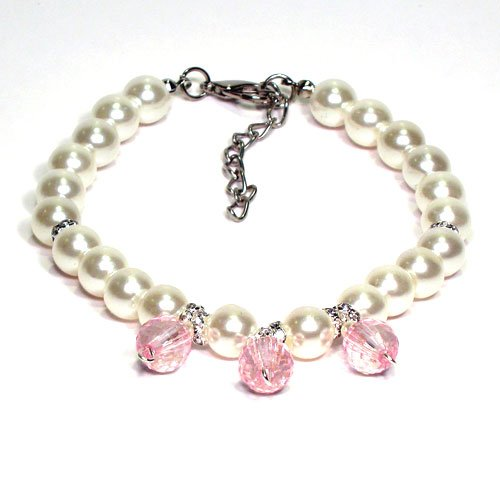 Pearl Pet Necklace with Crystal Pendants (M), My Pet Supplies
