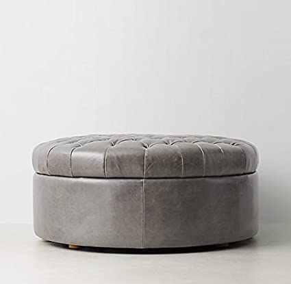 Incroyable Tufted Large Round Storage Ottoman