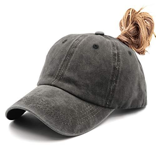 Ponytail UnconstructedWashed Dad Hat Messy High Bun Ponycaps Plain Baseball Cap Black