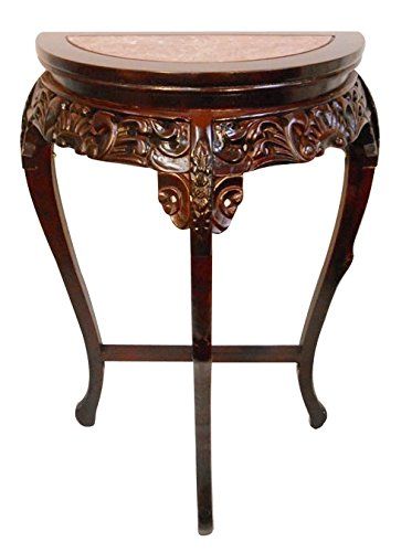 Oriental Furnishings Marble Top Half Moon Floral Carved Wooden Hall Table ()