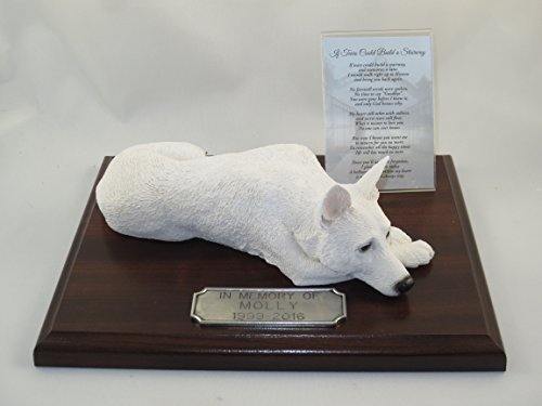 - Conversation Concepts Beautiful Walnut Finished Personalized Memorial Plaque with White German Shepherd Figurine