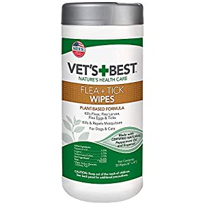Vet's Best Flea and Tick Wipes for Dogs and Cats | Targeted Flea & Tick Application | Multi-Purpose Flea Treatment for Dogs and Cats | 50 Wipes