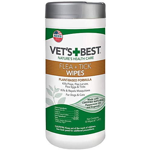 Vet's Best Flea and Tick Wipes for Dogs and Cats | Targeted Flea & Tick Application | Multi-Purpose Flea Treatment for Dogs and Cats | 50 Wipes (Best Flea And Tick Powder For Dogs)