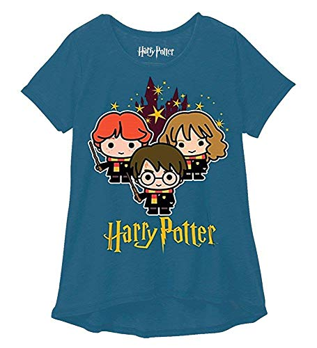 Harry Potter Youth Girls Fashion Top Hogwarts Stars Blue Green (Large) (Harry Potter T Shirt Kids)