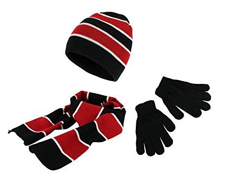 Hat Kids Red Gloves (Polar Wear Boys Knit Hat, Scarf And Gloves Set - Black/ Red)
