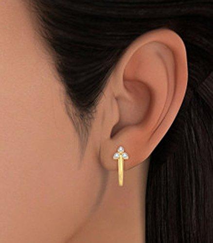 14K Or jaune 0.09CT TW White-diamond (IJ | SI) Boucles d'oreilles créoles
