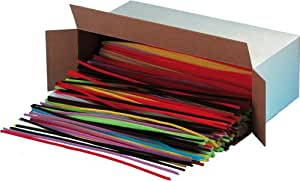 Creative Arts by Charles Leonard Chenille Stem Class Pack, 6 MM x 12 Inch, Assorted Colors, 1000/Box (65610)