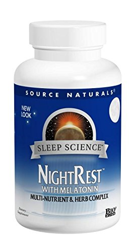 Source Naturals Sleep Science NightRest Multi-Nutrient & Herb Complex With Melatonin, GABA, Passion Flower, Chamomile, Lemon Balm & More - Herbal Formula - 50 Tablets