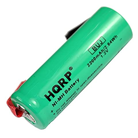 HQRP Replacement Battery for Braun Oral-B 3731 ProCare Triumph 9000, 9400, 9500, 9900 Toothbrush Repair 2200mAh NiMH 1.2V 48mm Long + HQRP - 2,200 Mah Nimh Battery
