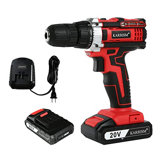 KARRISM Cordless drill driver 20V MAX LIthium lon,18+1Torque Setting,2-Variable Speed,309 In-lbs,1/2″ Metal Keyless Chuck