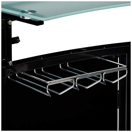 Home Bar Cabinetry COASTER CO-100139 Arched 1-Shelf Bar Unit with Glass Counter Tops, Glossy Black/Chrome/Frosted and Clear home bar cabinetry