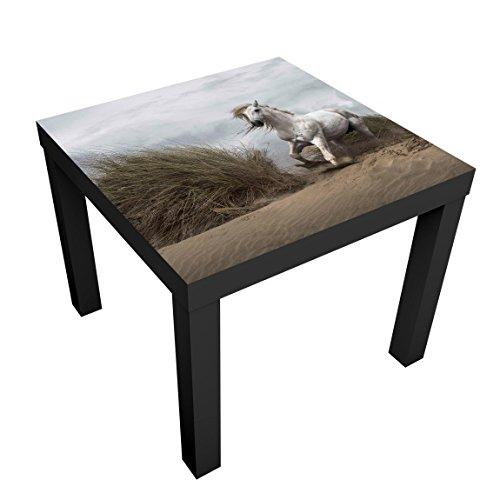 Bilderwelten Mesa de diseno - White Horse In The Dunes - 55x55x45cm, Mesa Auxiliar mesilla de Noche mesita, Tabla de Colores: Vector Negro, Tamano: 55 x 55 x 45cm