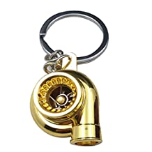 Turbocharger keychain - SODIAL(R) Sleeve Bearing Spinning Golden Auto Parts Models Turbine Turbocharger Turbo Keychain Key Chain Ring Keyfob Keyring Gold