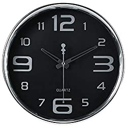 JoFomp Black Wall Clock, 12 Modern Simple Style Non-Ticking Silent Quartz Clocks, Large Silver Numbers and Perfect Hands, Battery Operated Decorative Wall Clock for Home Office School (Black)